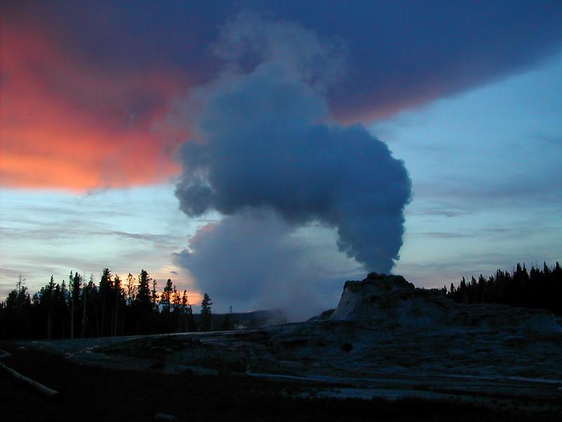 Yellowstone Geyser at dusk