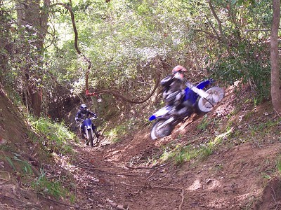Just behind these riders, the creek is very uniformly narrow... like a bobsled track. They flew through it.