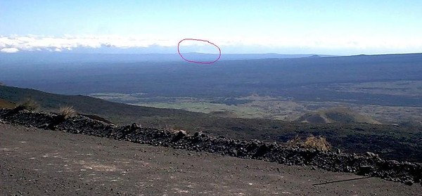 The view of the Hilo coast from this area. I've circled the plume rising from Pu'u O'o --- lava still issues from Kilauea, making the Big Island bigger every day.