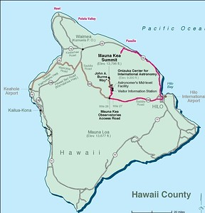 Start in Paauilo, ride to Hilo (43 miles), take the Saddle (Rt 200) about 25 miles to the access road to the summit.