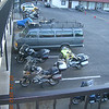 Bikes in the Gateway Inn parking lot.  Note Bernie airing the roadcrafter out.