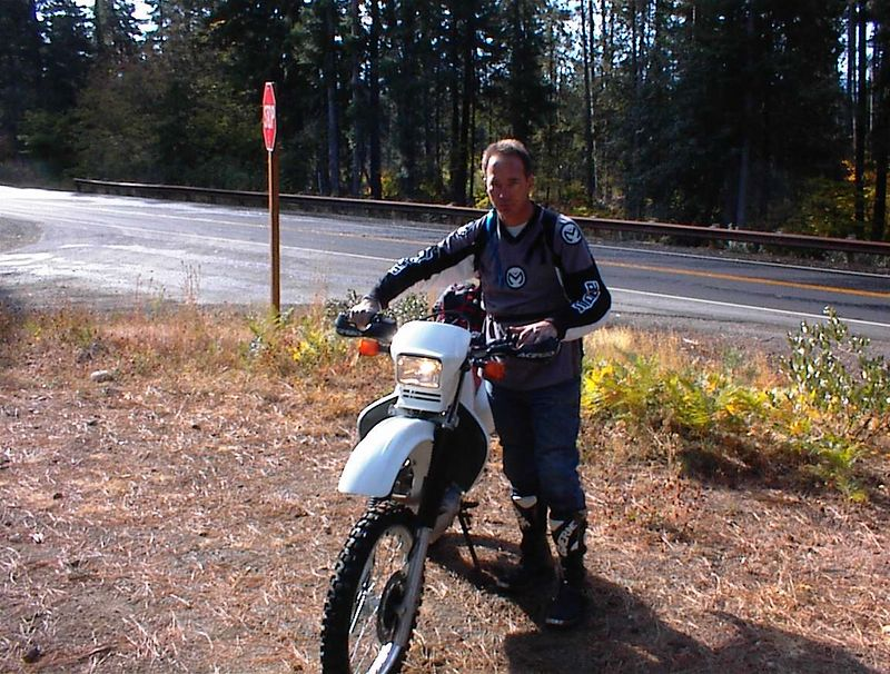 Greg with his XR650L. Tom Myers took Greg and I out for some great trail riding up at Salmon La Sac. This was Greg's second trail ride after not riding in the dirt since he was a kid.