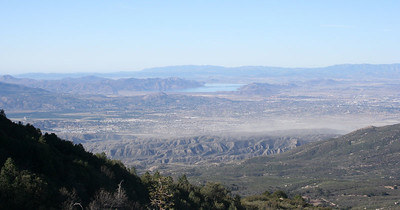 Looking south from near Idylwild; in the mountains south of Palm Springs. I believe that's the Salton Sea in the distance.