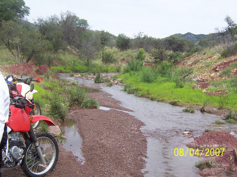 Here is a shot of Jim's XR650L and Craig's XR600 looking upstream. We spent an hour in this location.