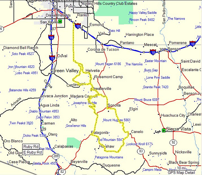 This is the route we traveled on this long ride from SE Tucson to Patagonia and back. The part highlighted here is about 150 miles. Since I came from Oro Valley, my ride was over 200 miles.
