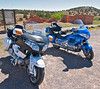 Time to ride with friends.  Parked at the Abo ruins outside Mountainair New Mexico.  I think the white looks better ;-)