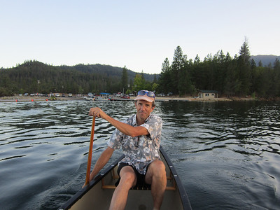 It was an almost-full-moon night, so we headed out in the canoe for a twilight paddle on Friday night, on Whiskeytown Lake.