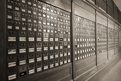 The post office.  The boxes aren't keyed - they have little combination locks!