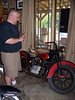 Here's Mike with the bike that started it all--his great-uncle's 1936 Harley Davidson EL Knucklehead.