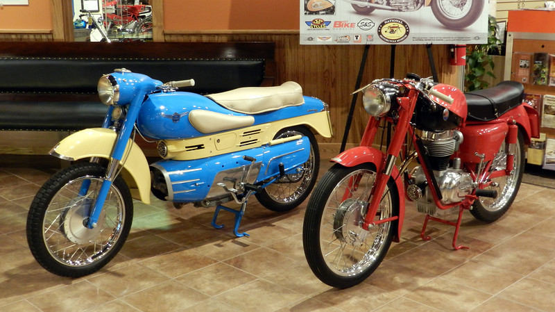 These two bikes, an Aermacchi and a Maserati, won 1st places in the 2011 Pebble Beach show.  That is quite an accomplishment.