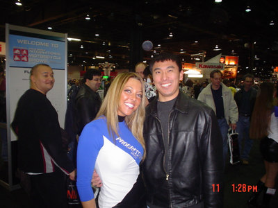 Chuck and some random hot progressive insurance model at the 2006 Cycle World Motorcycle Show