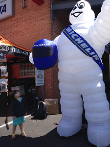 Chloe checking out the Michelin Man