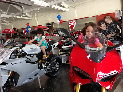 Keira, Chloe and a couple Panigale's. Keira on the red S and Chloe is on the arctic white base model.