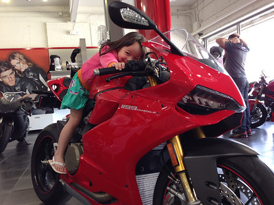 Keira can just barely reach the throttle. They grow up so fast.