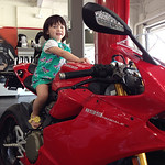 Chloe loves the gas caps - here we have her modeling the new Ducati Panigale S Model