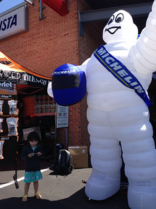 Chloe still hanging out with the big old Michelin Man