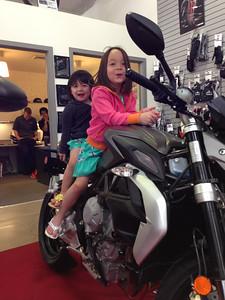 Keira and Chloe on an MV Agusta Brutale.