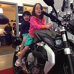 Keira and Chloe on an MV Agusta Brutale.