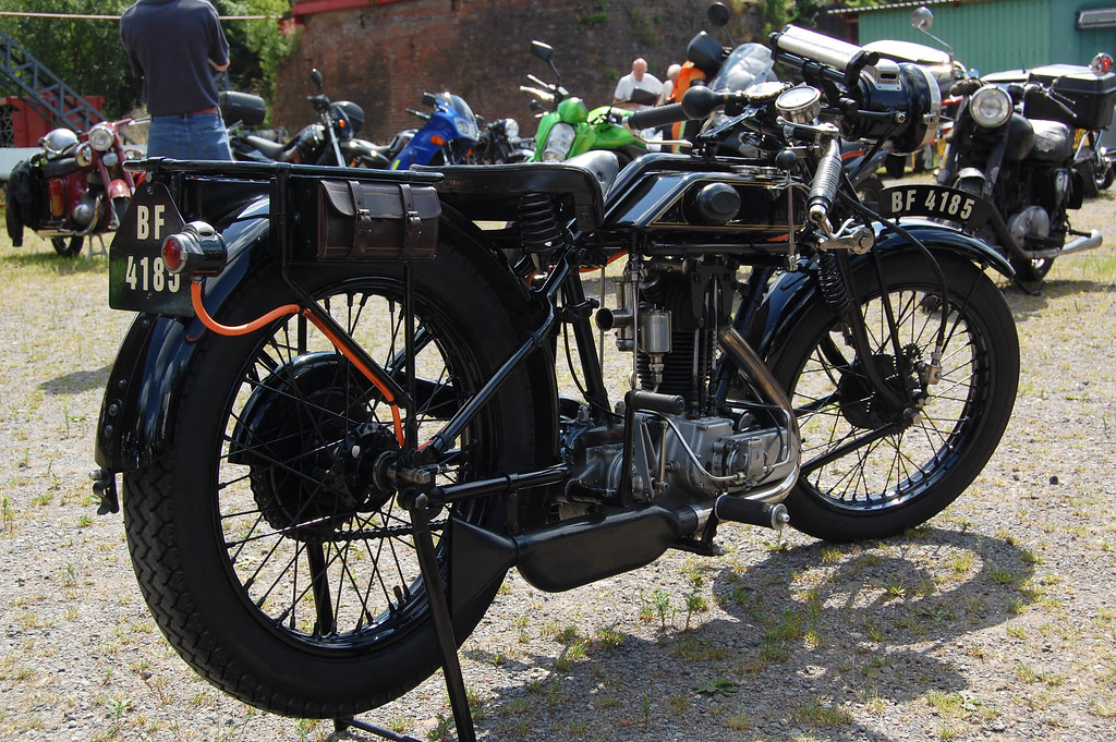 AJS with rear gas lamps.