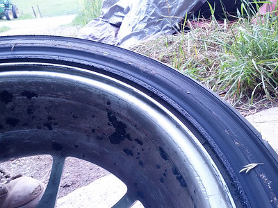 tire sidewall damage close-up