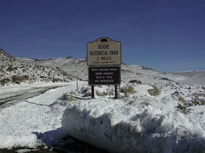 Bodie's one of the best preserved Western ghost towns from the gold rush. Too icey today to get to it. >