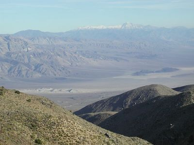 Looking down from Saline Valley Road to Panamint Dunes and Panamint Mountains beyond