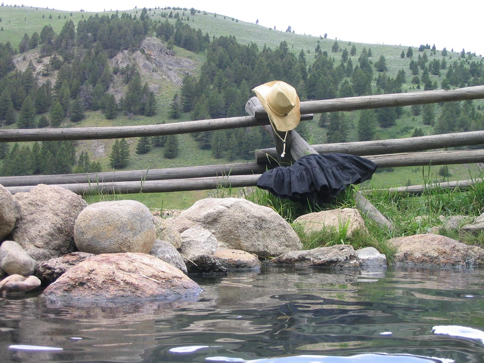 Skert in for a dip. Potosi hot springs.