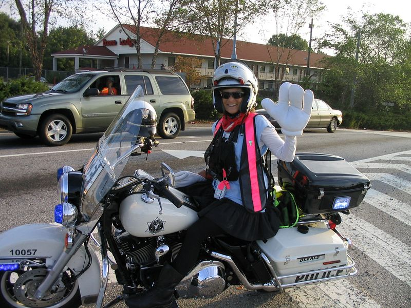 Atlanta 3DAY breast cancer walk.  Taking a ride on the police bike;-)