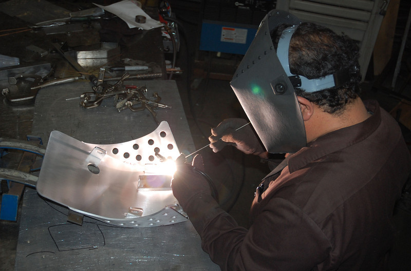 Talented Steve's Plating welder Sabino, welds the finishing touches on the plate.