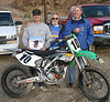 #1 for 2007: Chuck Woody and his ProCircuit KX250, posing with two of his 70+ racing buddies, Richard Lyons and Asker Larnkjaer
