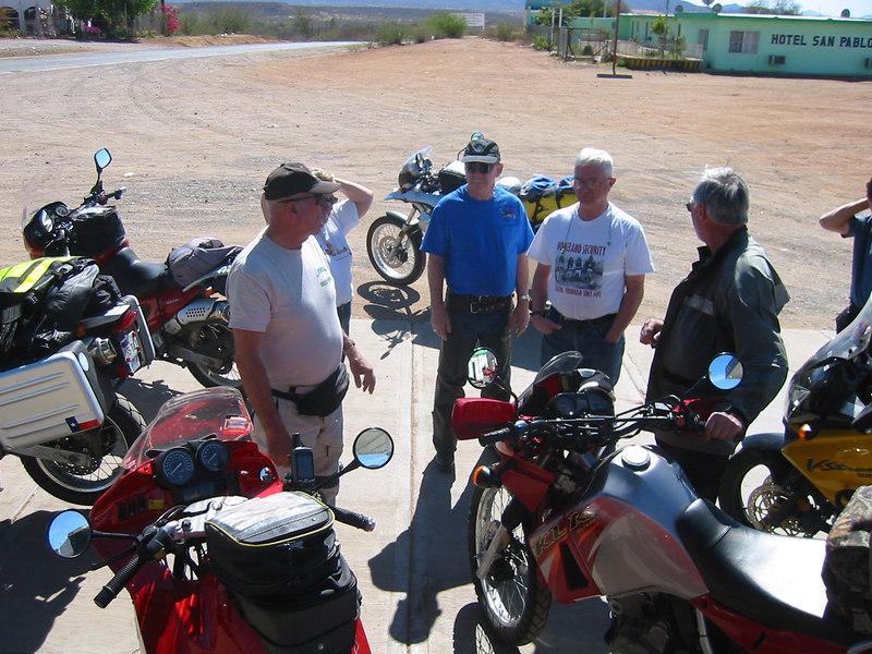 L-R: John (Funduro), Maralan's elbow (Funduro), Hal (F650GS), Bill (V-Strom), and Tim (KLR650).