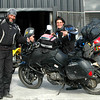 Couple from Bogota, traveling to Ushuaia, they have ridden Europe and are making plans for North America
