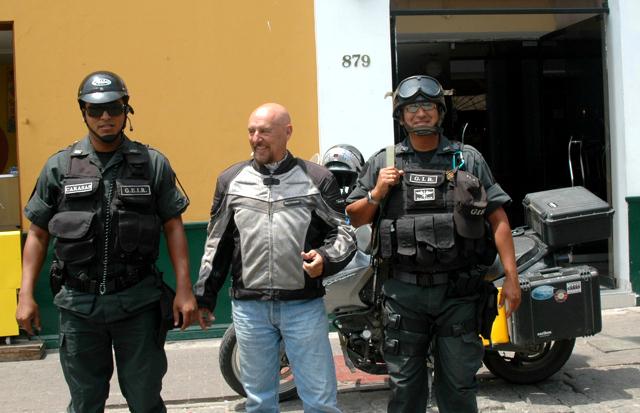Police escort into Trujillo