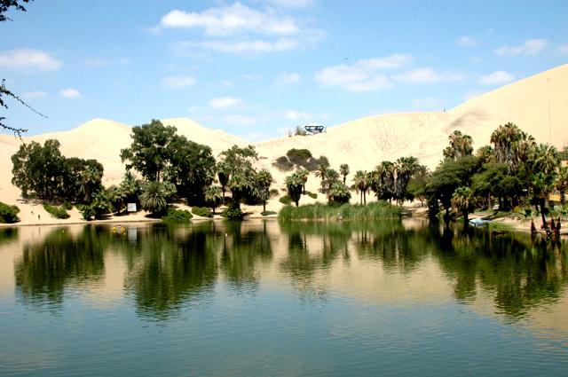 La Laguna de la Huacachina - Ica, un lindo paisaje de enriquecedor ambiente, donde esta rodeado de palmeras de mas de 50 anos de existencia.  Nuestra necesaria parada de estancia. 19-01-10