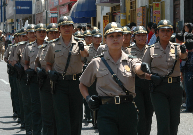 Tacna, policewomen on parade