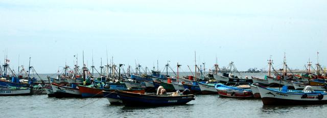 Embarcacion preparada para ir a las Islas Ballestas y conocer los lobos marinos, el Perfil de Cristo, el Tridente (Geoglifo del Candelabro), etc.  Todo esto en las Paracas-Peru. 21-01-10