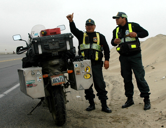 Another police stop in Peru,  all stops were friendly.