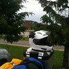 Packed and ready to go across the Mackinac Bride.  Notice the helmet cam ready to go!