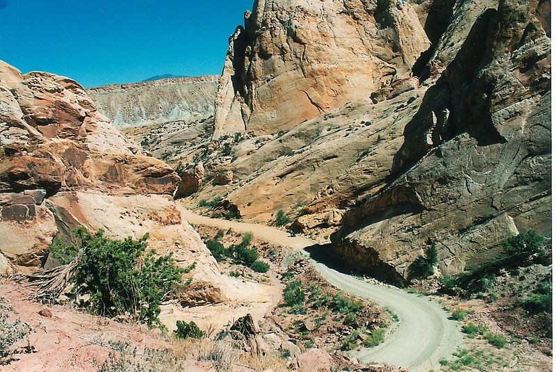Looking East from the Burr Trail switchbacks.  The Ducati is down there at the bottom.
