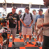 Former racer and now Malcolm Stewart's Team Manager Nathan Ramsey shows the boyz around the pit thanks to a private tour arranged by Tucker Rocky's Tom O and Keith ?.