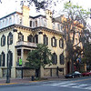 A stately establishment at sunrise. I'd also like to come back someday. This part of Savannah is more sprawled out than Charleston, more run-down, more lived-in-looking. But a cafe next to the alley I parked in had gaslamps; and the sense of secrets waiting to be seen was strong in the close, misty predawn
