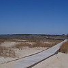 Chincoteague boardwalk with exhibits on the area's ecology