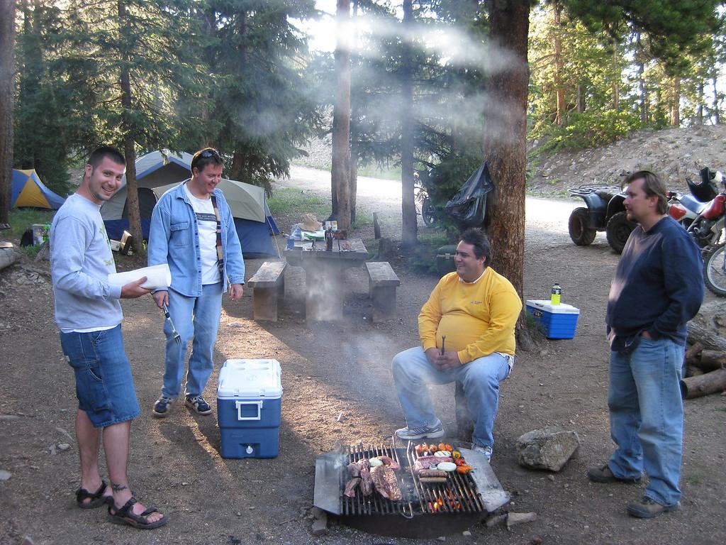 Joe, Leon, Alberto and Toby at the campsite.