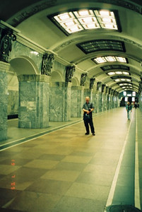 Dave standing on a metro platform in St Petersburg 2005