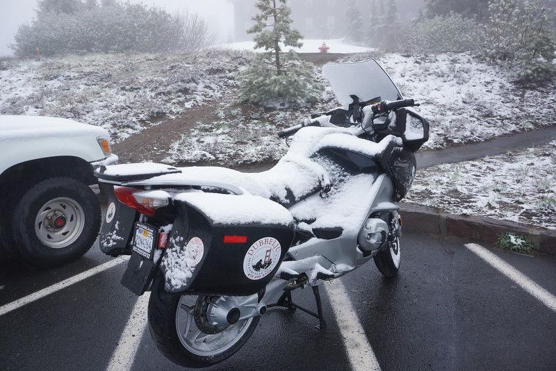 Snowy morning at Crater Lake Lodge June 2014
