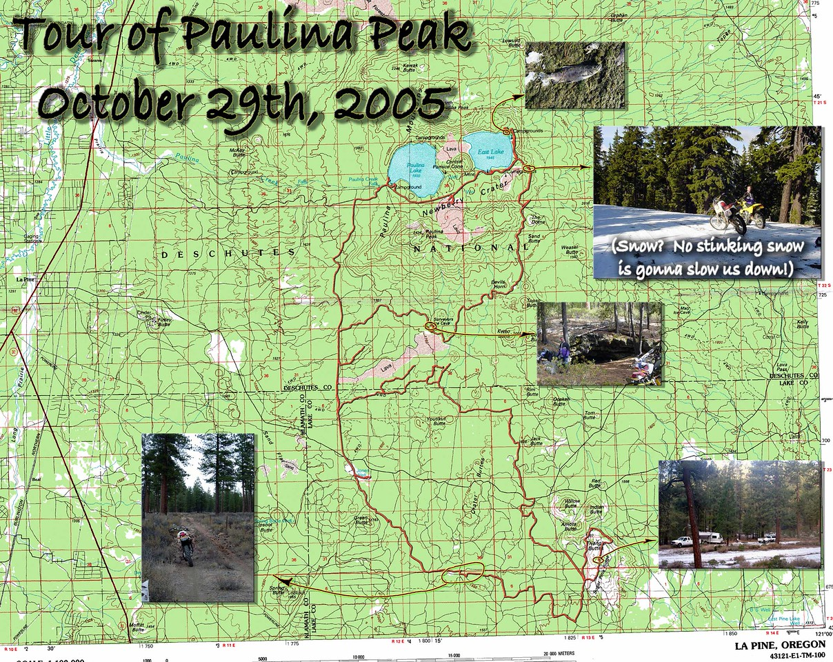 "Here's a map of our Saturday tour of Pualina Peak.  I must note here that there were other folks in the area that attempted a similar route that wimped out at the sight of snow on the ground and turned back.  Tom and I, however, not only made it to the pass, but over and down to the lakes.  I would also mention that we have tried this about this time of year for about three years running, and this was the first time we made it.  I'd never actually been up to the lakes, and was quite suprised at a couple of things.  One was they were SUPREMELY beautiful.  Second was that they were FULL of fish that for the world of me looked like Sockeye Salmon.  (Anyone know what that's about?  More later...)  Third was how developed this area was - very nice and very LARGE camp grounds. (which were empty, so the nice single lane tarmac made for some cool impromptu super moto action!)<br><br>For reference the 18/22 junction is just above the embedded ""snow camp"" photo - see the little ""1494""?  The South Ice Cave putin/campground is about 1"" NW of the intersection at full resolution."