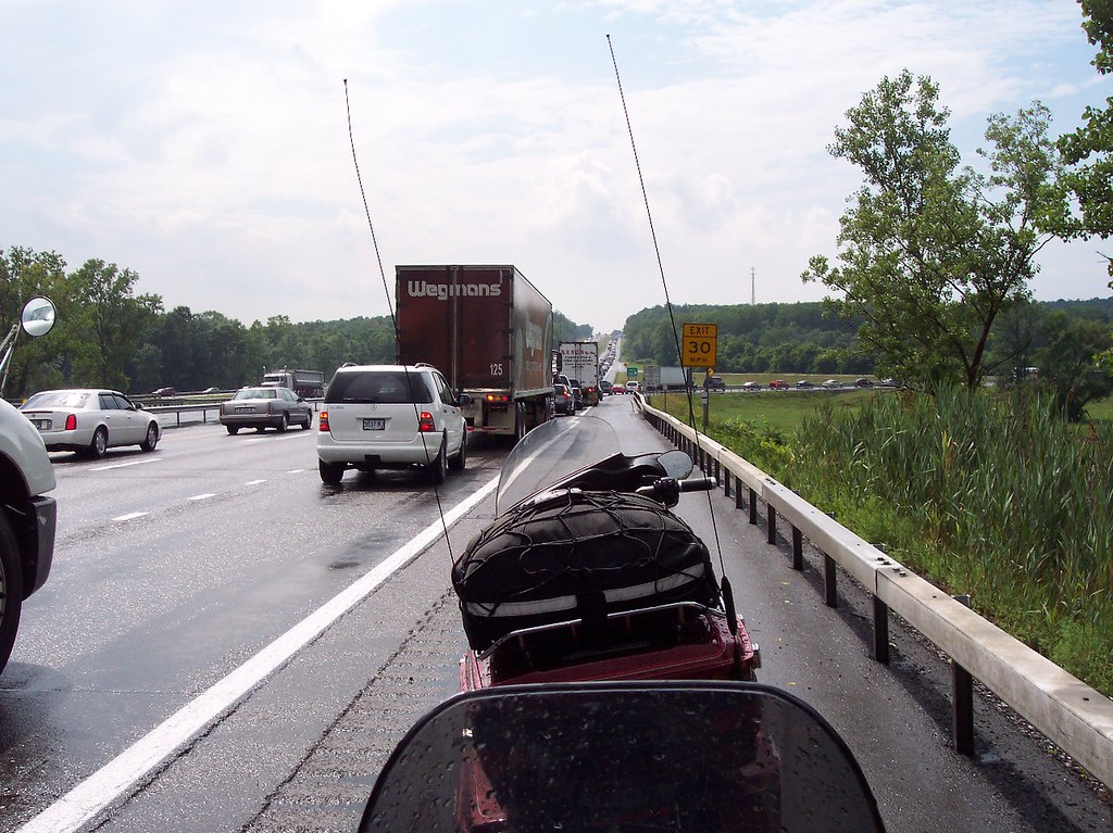 Day 1: rode 450 miles in the later part of the day due to a late start running around for the last few items.  Here I am stuck in a 7 mile long traffic jam east of Buffalo.  I eventualy gave up and rode the shoulder to the end.  I justified it by the fact that it was 100 deg F and high humidity and I was cooking in my riding gear.