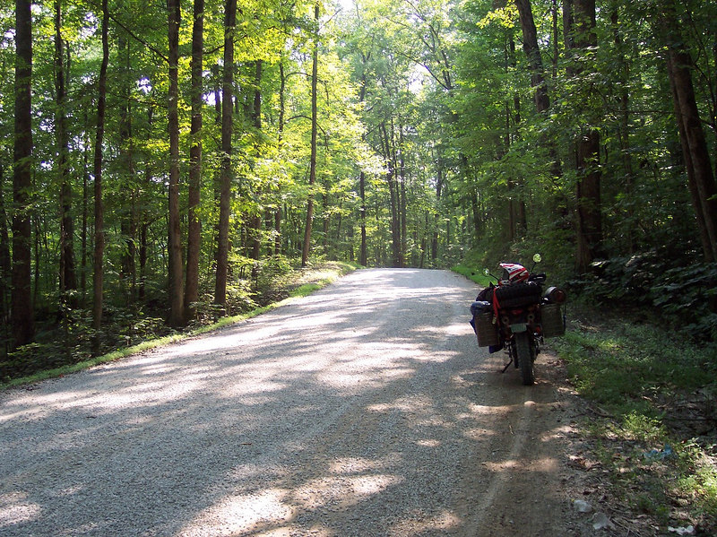I started the Transamerica trail In Tennessee and this was the first gravel road I hit.....as it turned out there are not that many gravel roads in Tennessee. Oh, it was also about 100 deg F with about 100% humidity.
