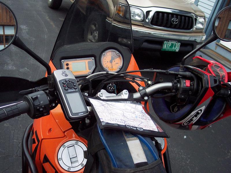 Navigation center: Map holder, gages, GPS, camel back.