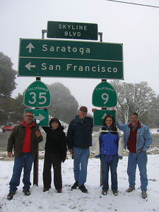 03/12/06 Hwy 9 at Hwy 35. The Sunday Moring Ride (without motorcycles). Mojo, Karen, Frank, Renee and Mike O. James is taking the picture.